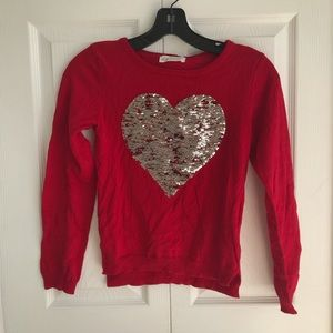NWT H&M Girls Sequined Reversible Heart Sweater
